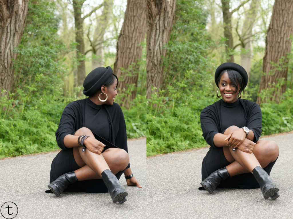all black outfit wearing black primark dress and h&m vest