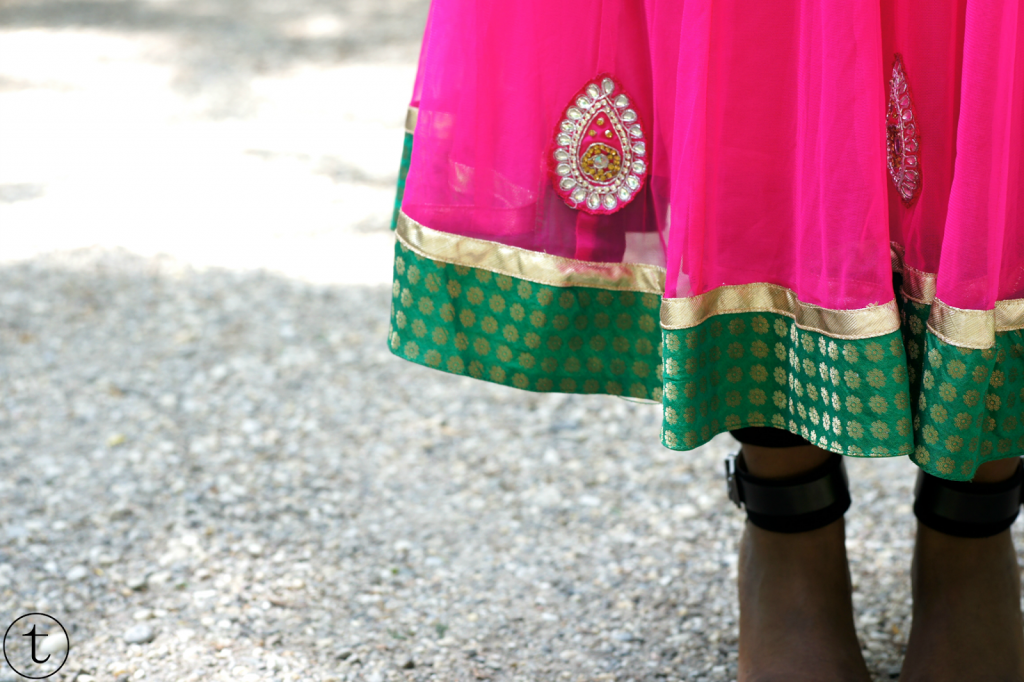 closeup of the pink churidar with sequins indian garment