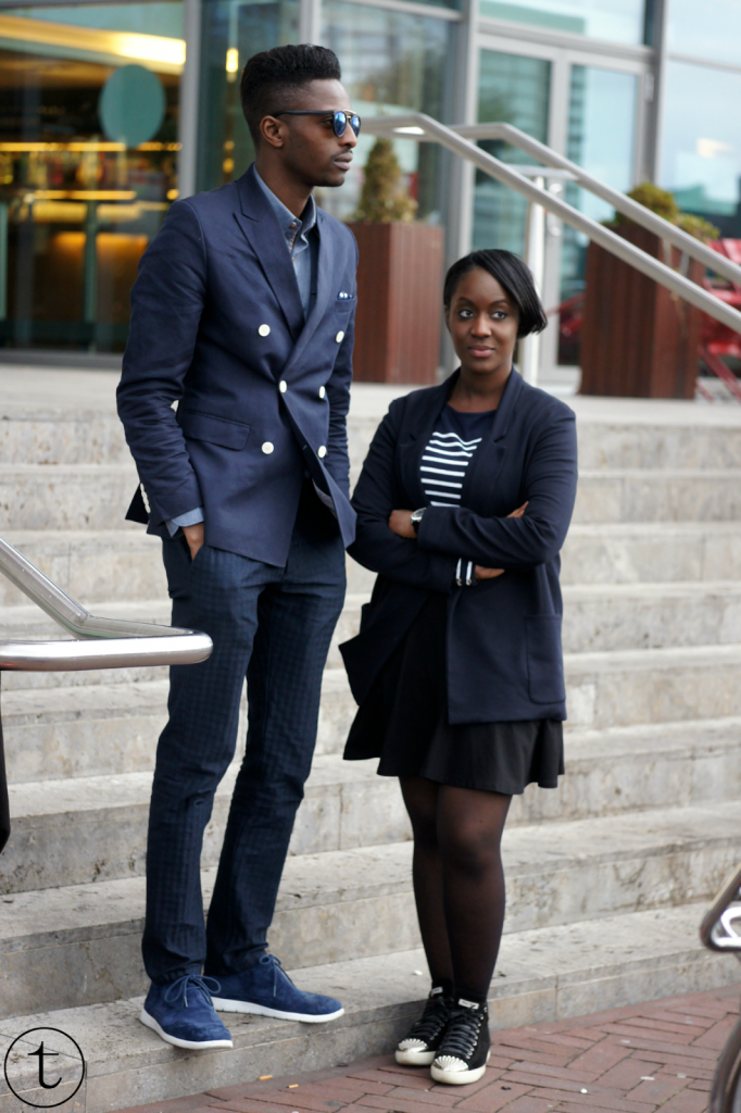 outfit post with male blogger wearing navy blue blazer and miu miu sneakers