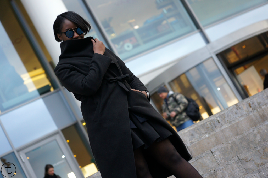 outfit post wearing black coat