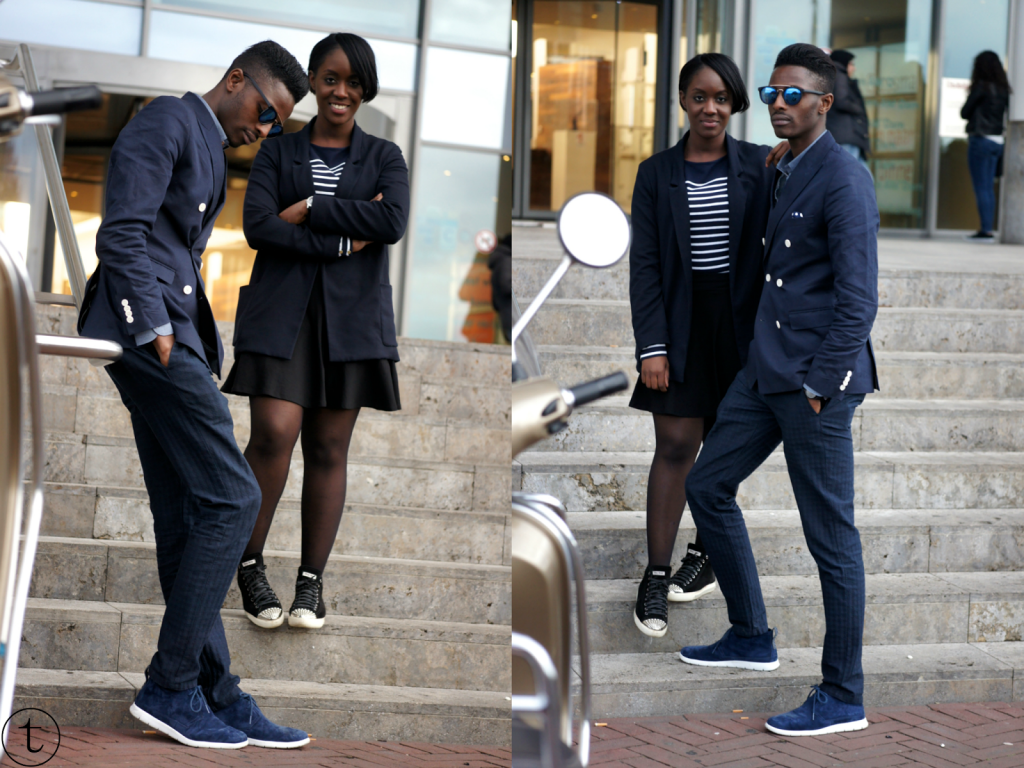 outfit post with mal blogger wearing navy blue zara blazer