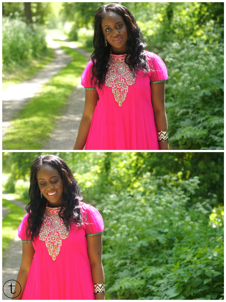wearing a pink churidar with sequins indian outfit