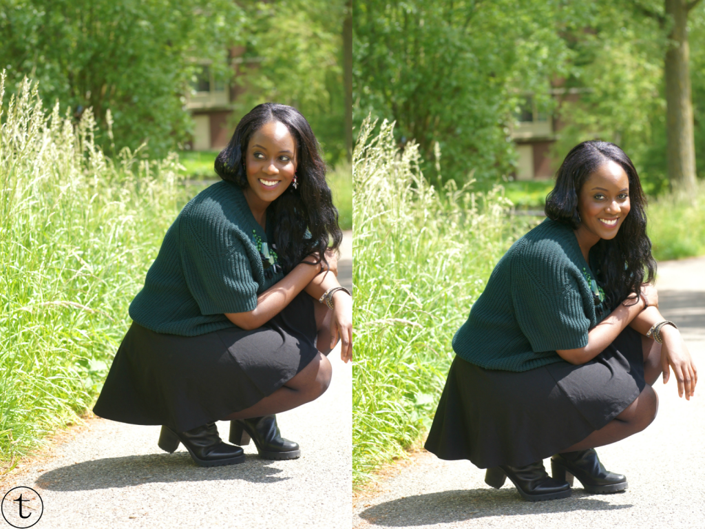 green sweater and black skater skirt outfit post