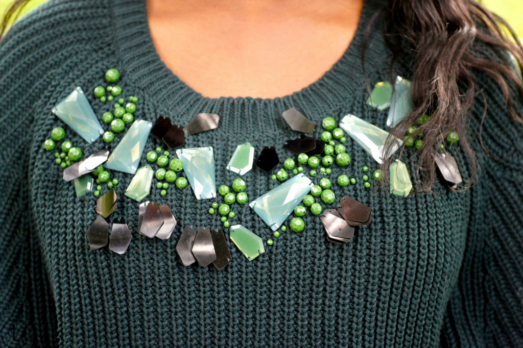 close up green h&m sweater outfit post