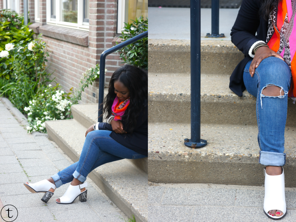 outfit post earing white marble heels from h&m colorful de bijenkorf scarf and blue zara coat