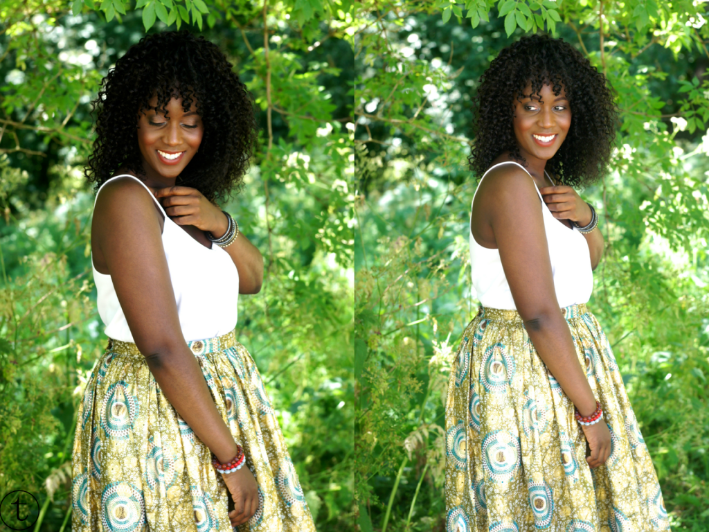 wearing white h&m top and african print maxi skirt outfit post