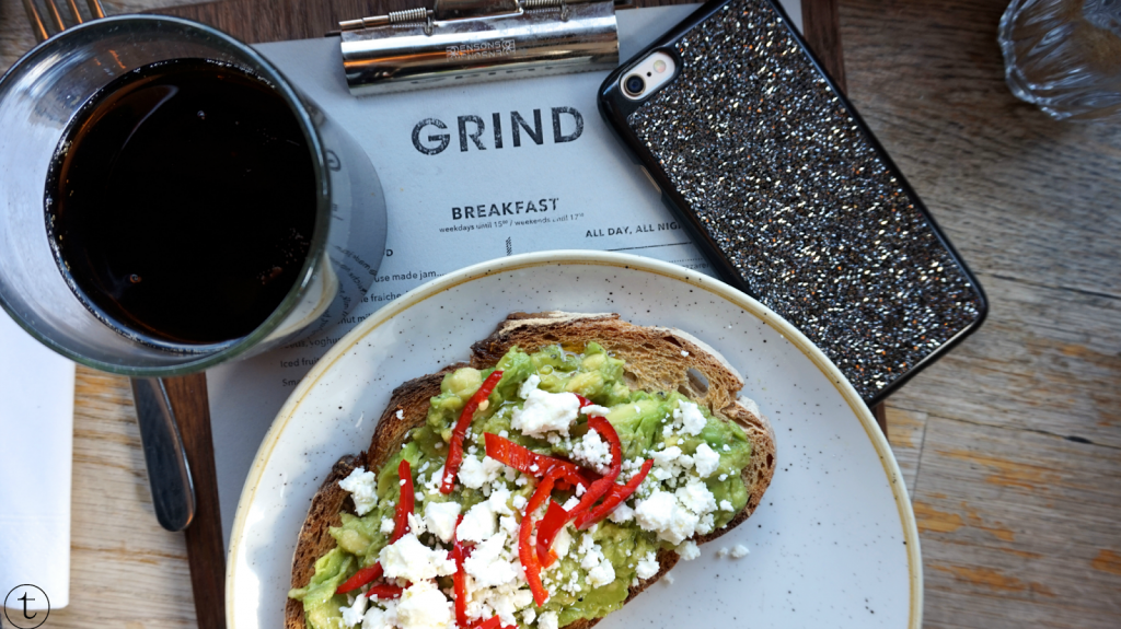 smashed avocado and fete at shoreditch grind london