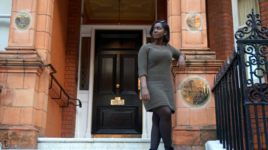 photoshoot at sloane square wearing a green zara dress