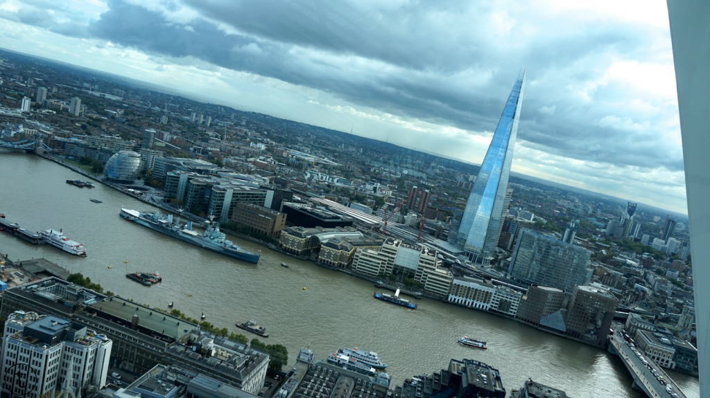 beautiful view of the shard from the sky garden in london