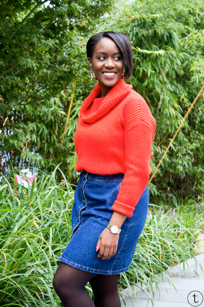 outfit post wearing a orange jumper from forever21