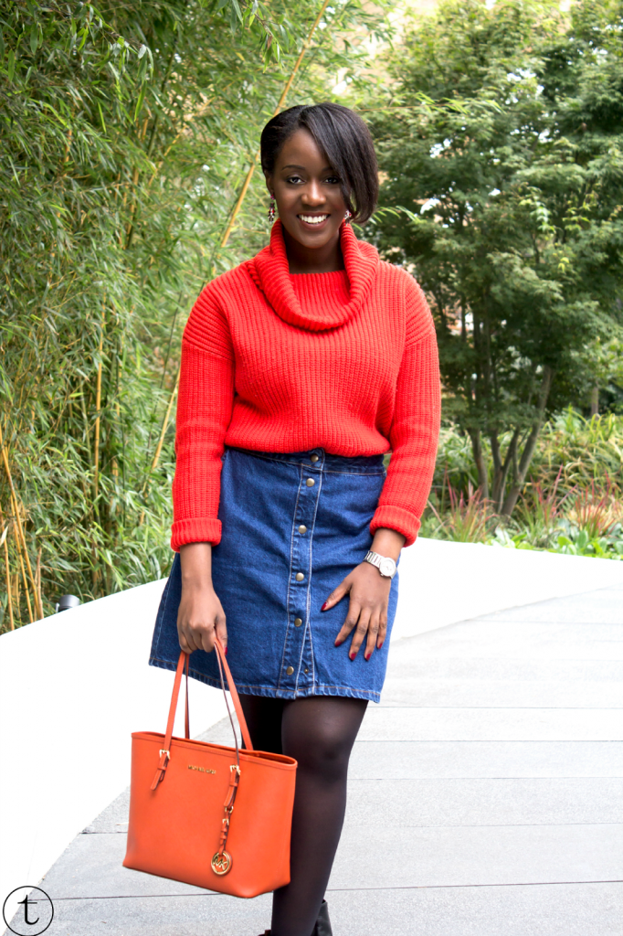 outfit of the day wearing an orange jumper from forever21