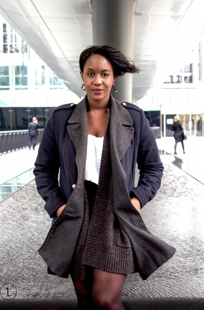 wearing a blue coat from pull & bear in canary wharf
