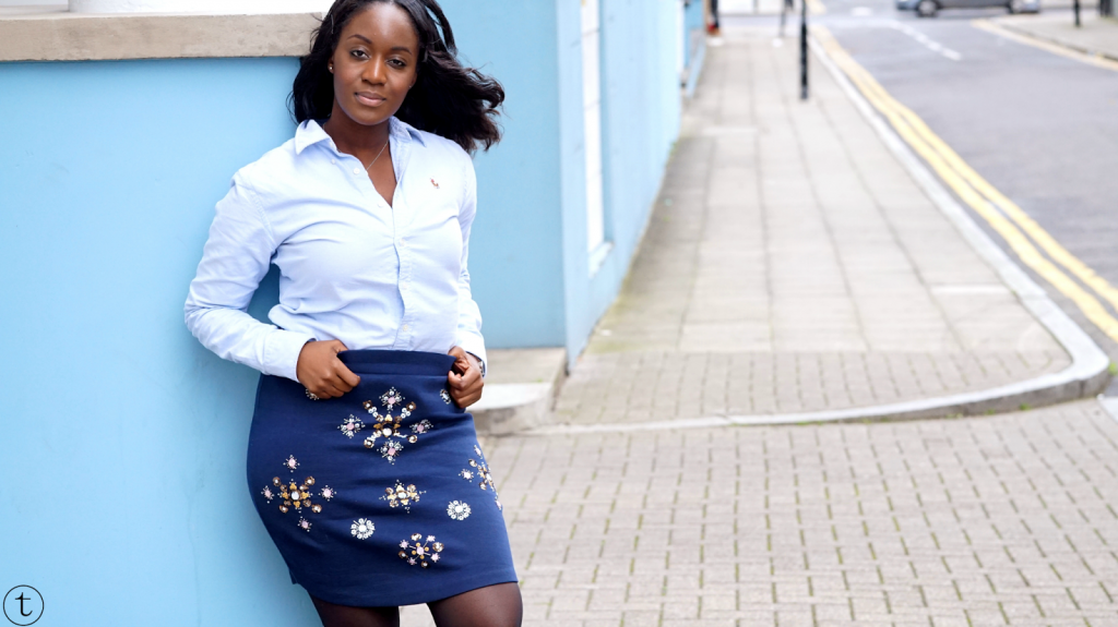 outfit post by it's true blog wearing a navy blue pencil skirt with sequins