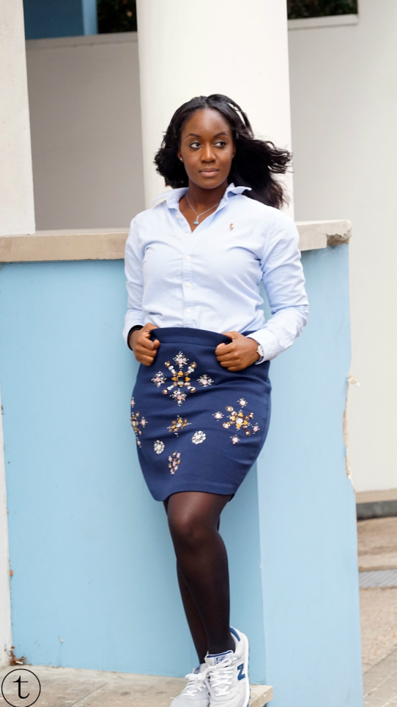 wearing ralph lauren shirt and blue navy blue pencil skirt it's true blog