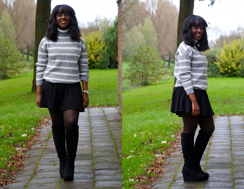 outfit post wearing overknee boots and mango jumper