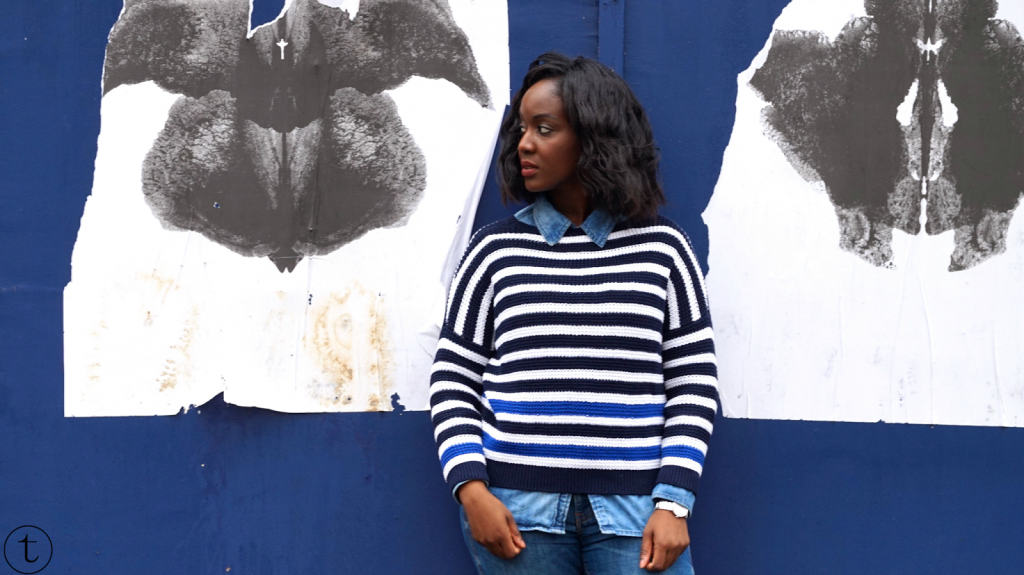 wearing a denim shirt with a forever21 sweater outfit post it's true blog