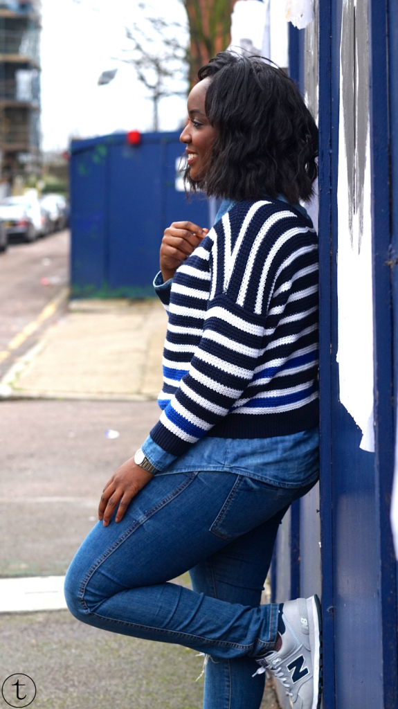 outfit post wearing denim shirt with forever21 sweater it's true blog