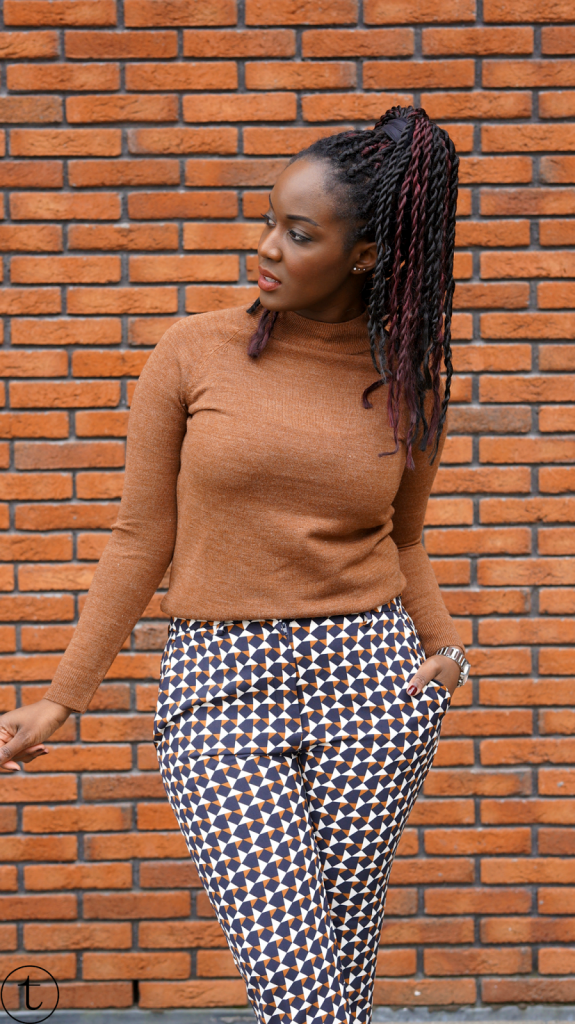 wearing h&m pants with prints outfit post it's true blog