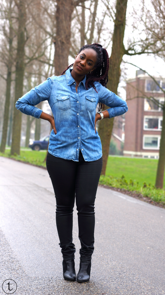 outfit post wearing denim shirt and black leather pants it's true blog