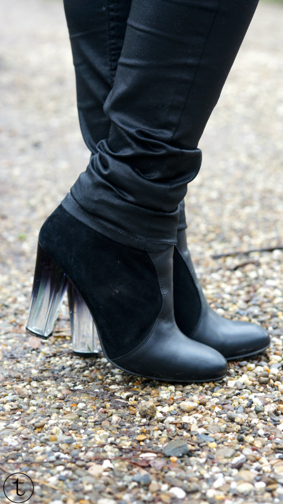 wearing black heels from asos ombre heels