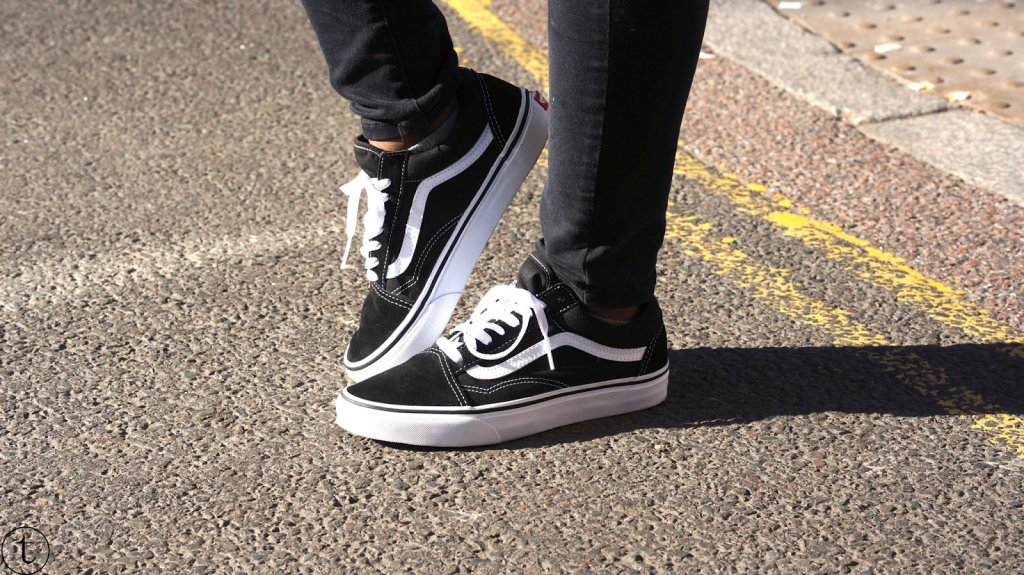 outfit post in east london fashion street vans classics