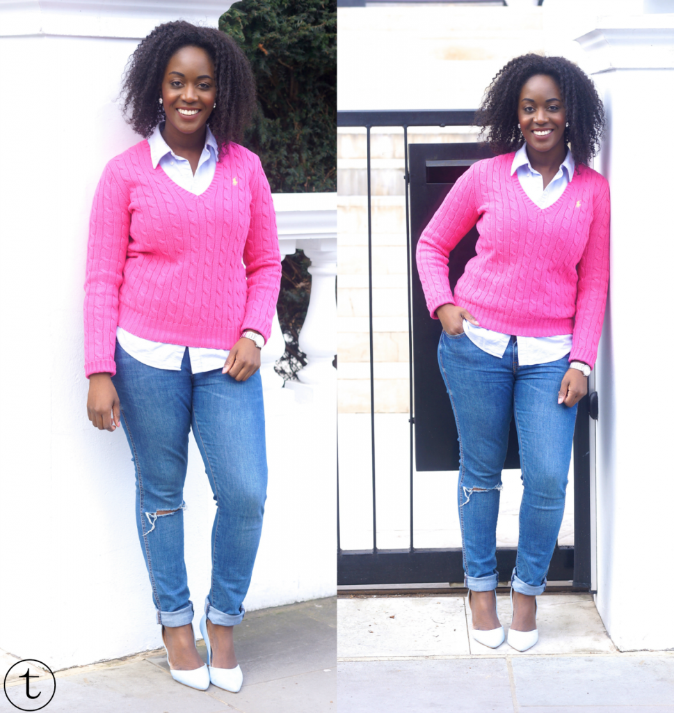 wearing pink ralph lauren jumper in notting hill uk outfit post trudy danso
