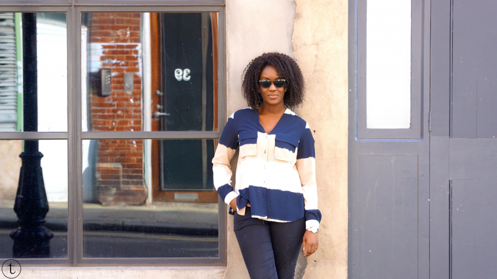 african fashion blogger wearing zara color block shirt trudy danso