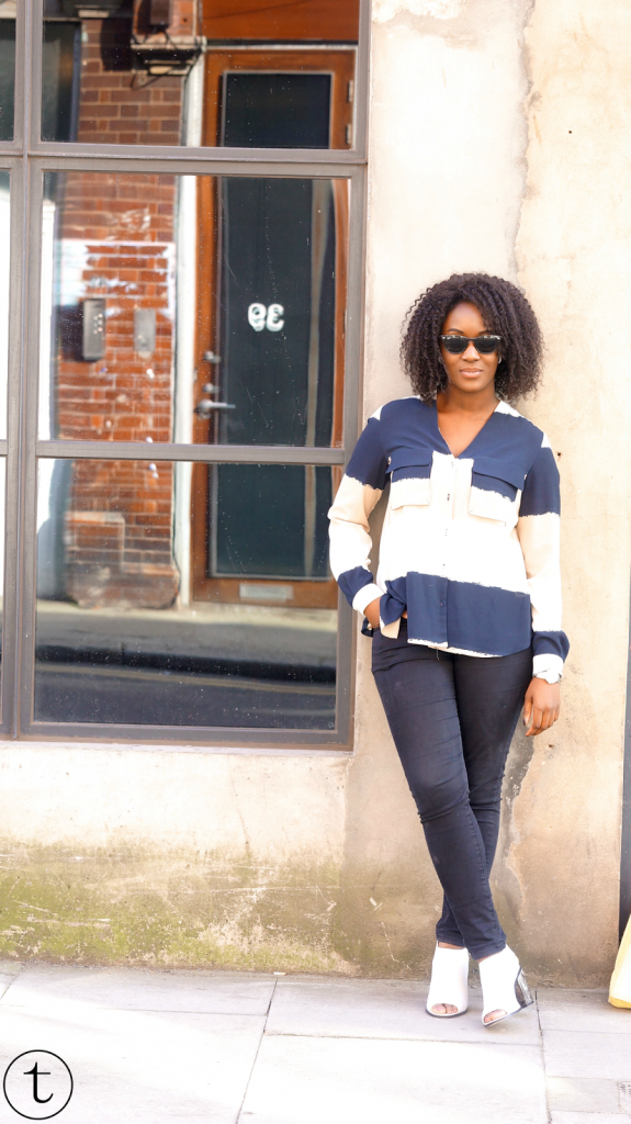 outift post wearing zara color block shirt trudy danso