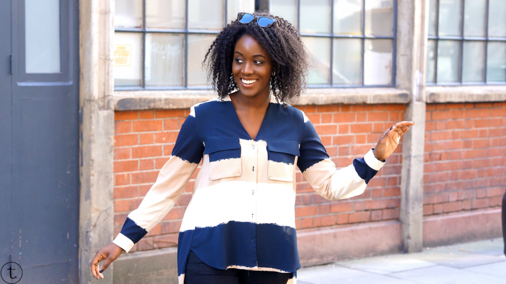 outfit post wearing zara color block shirt trudy danso