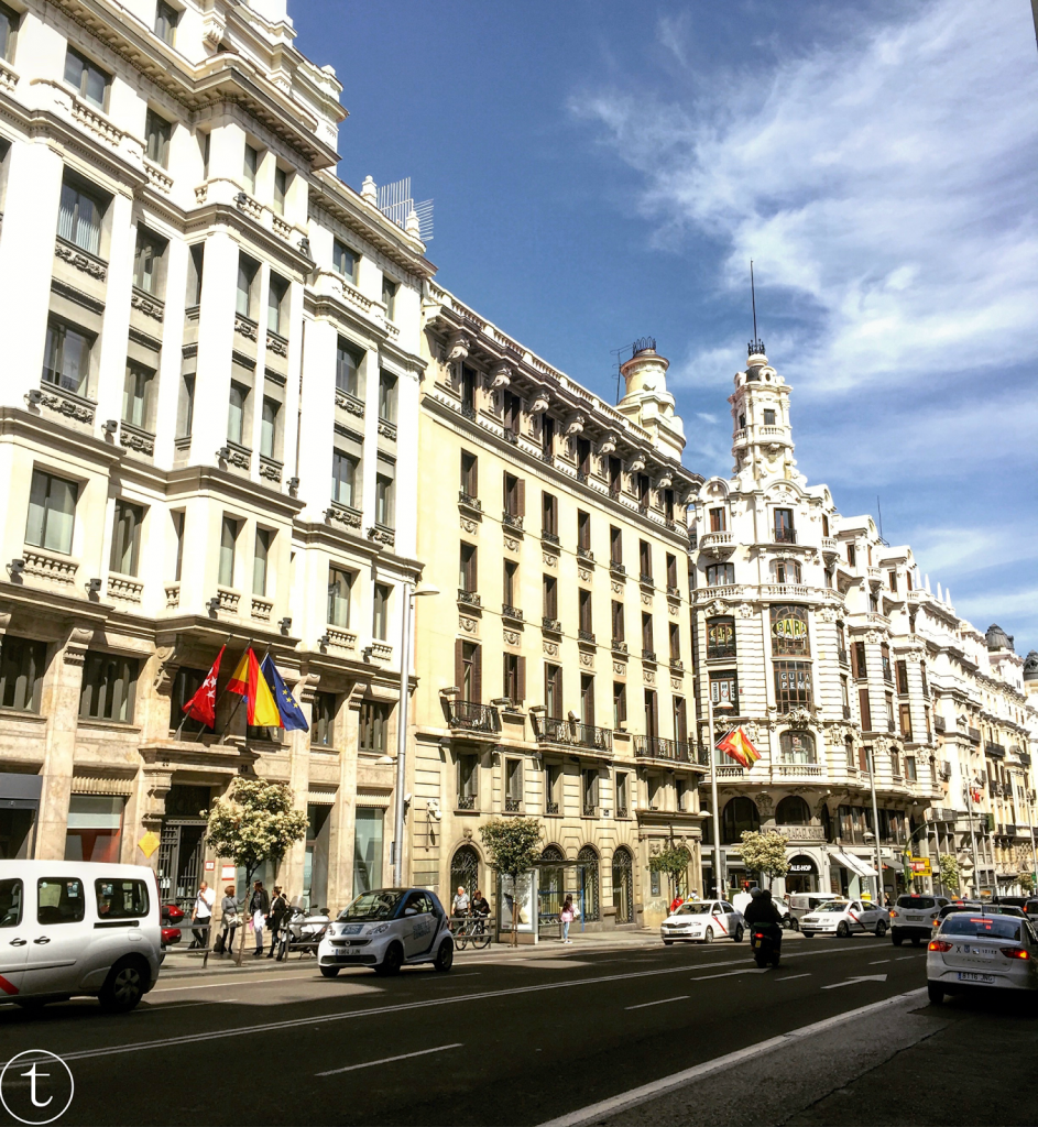snapshot of madrid spain, gran via travel diary