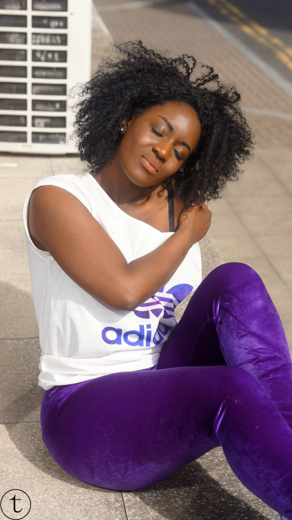 wearing velvet purple fomo london leggings outfit post