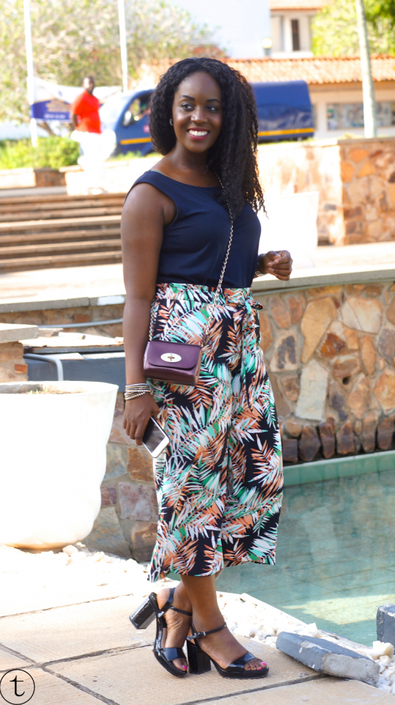 outfit post wearing floral print culottes at the university of ghana