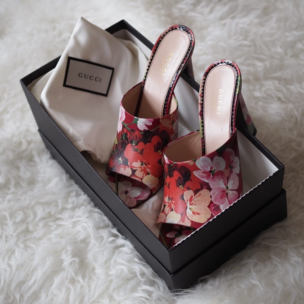 red pink floral gucci mules symphony of silk