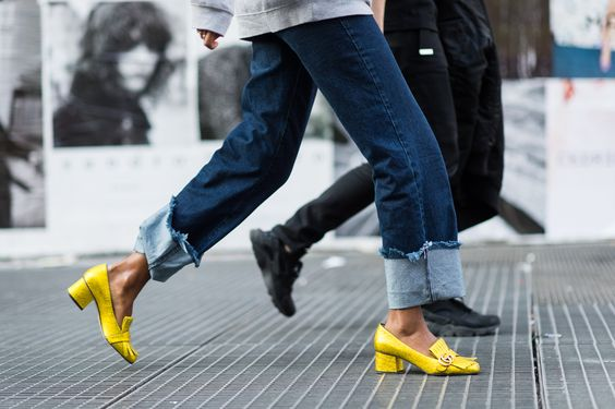 Yellow gucci mid heel loafers paris fashion week